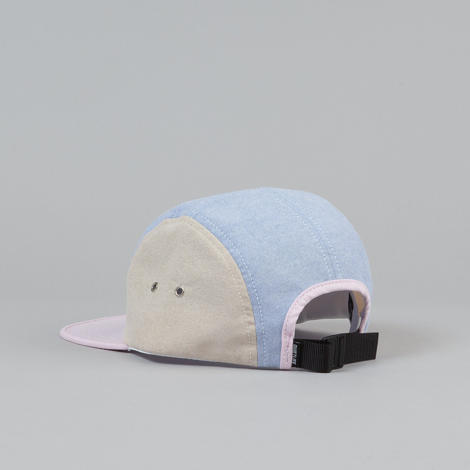 The Quiet Life Mixed Panel Oxford 5 Panel Cap - Pink Bill