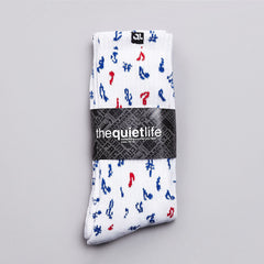 The Quiet Life Notes Socks White / Blue / Red