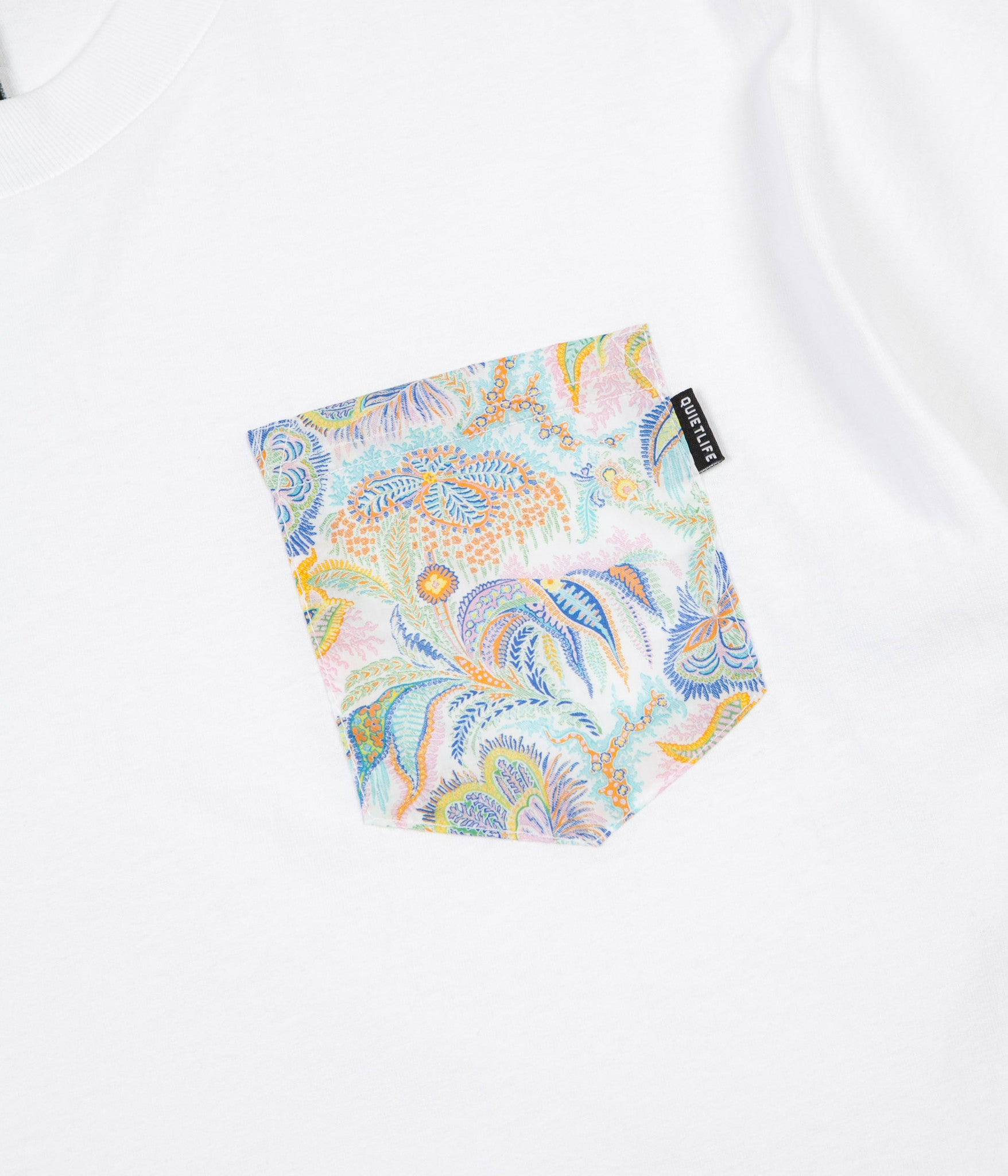 The Quiet Life Paisley Coral Pocket T-Shirt - White