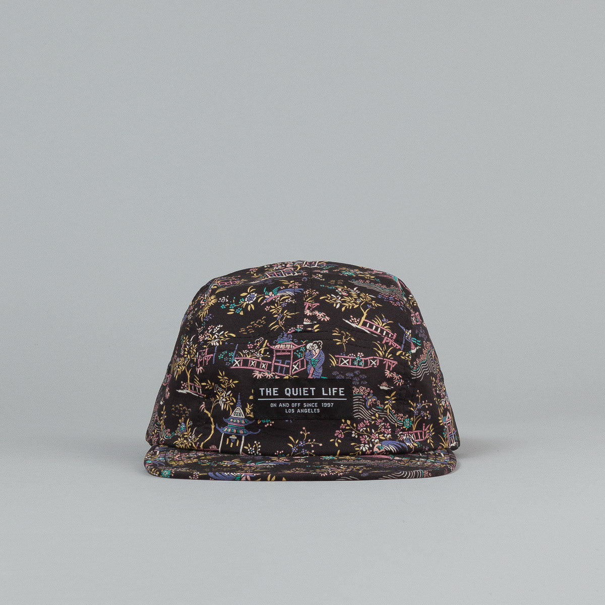 The Quiet Life Peony 5 Panel Cap - Black / Pink All Over Print