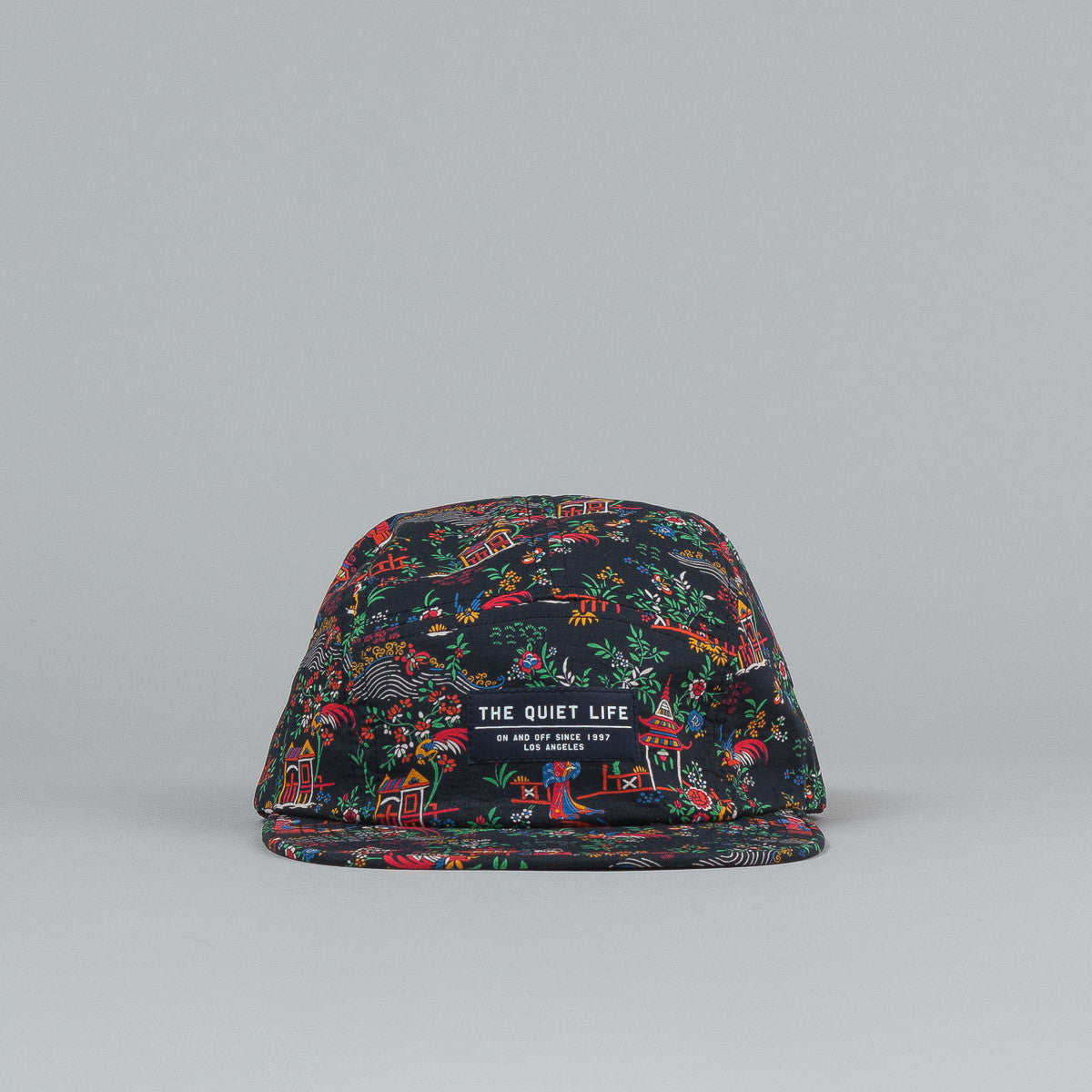 The Quiet Life Peony 5 Panel Cap - Navy / Red All Over Print