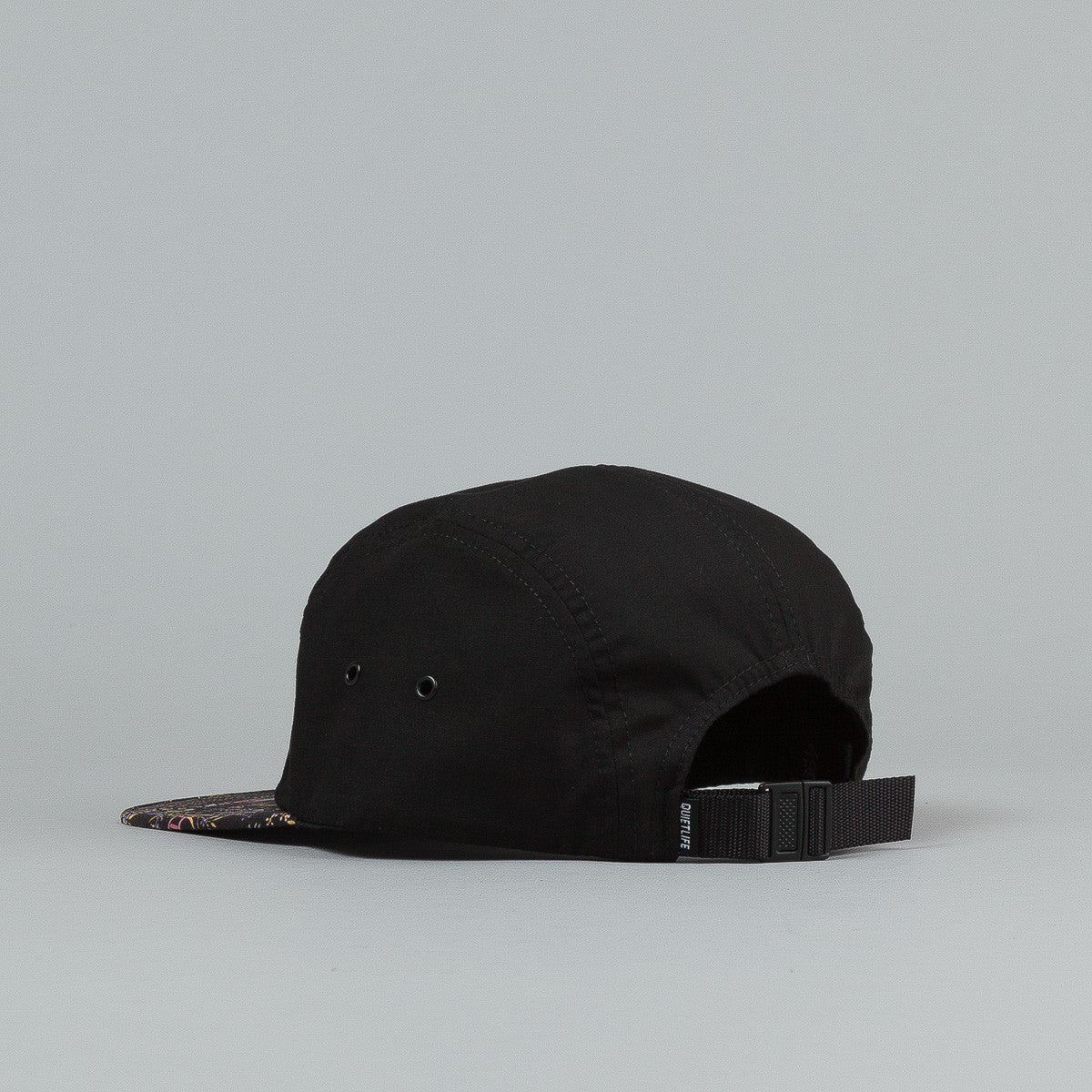 The Quiet Life Peony 5 Panel Cap - Black Upper / Print Bill