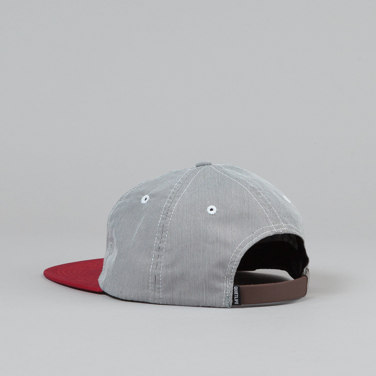 The Quiet Life Pincord Polo 6 Panel Cap - Black / Red