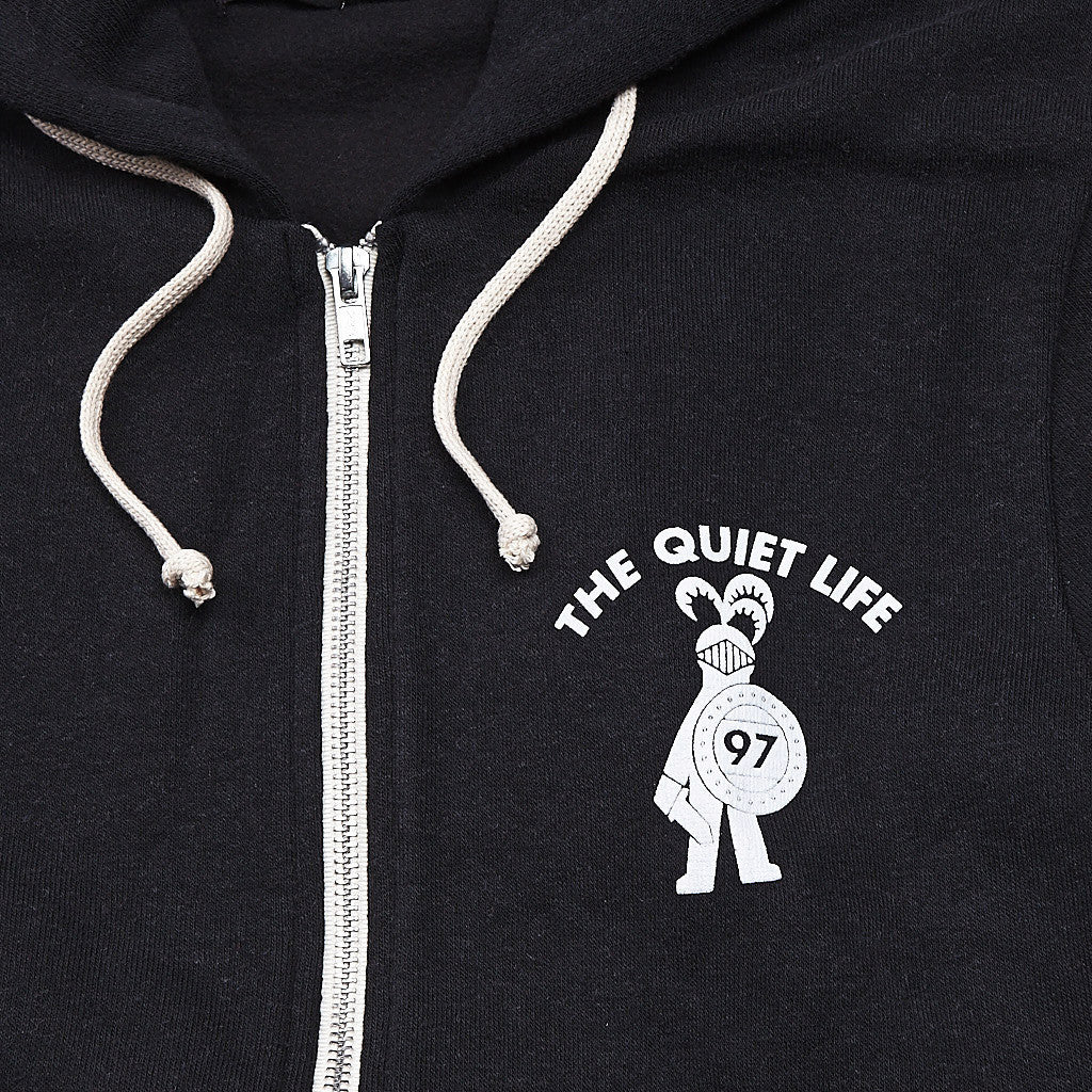 The Quiet Life QL Knight Zipped Hooded Sweatshirt Black