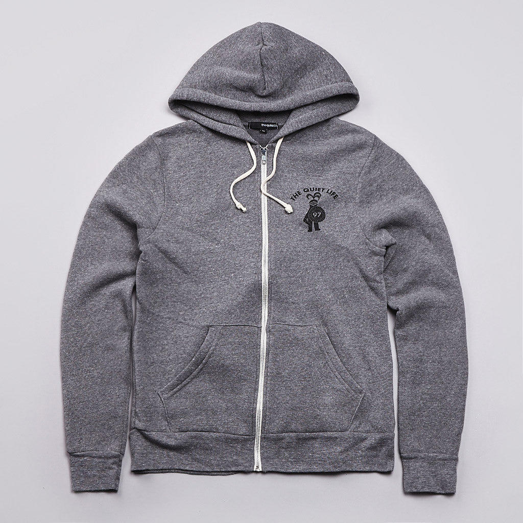 The Quiet Life QL Knight Zipped Hooded Sweatshirt Heather Grey