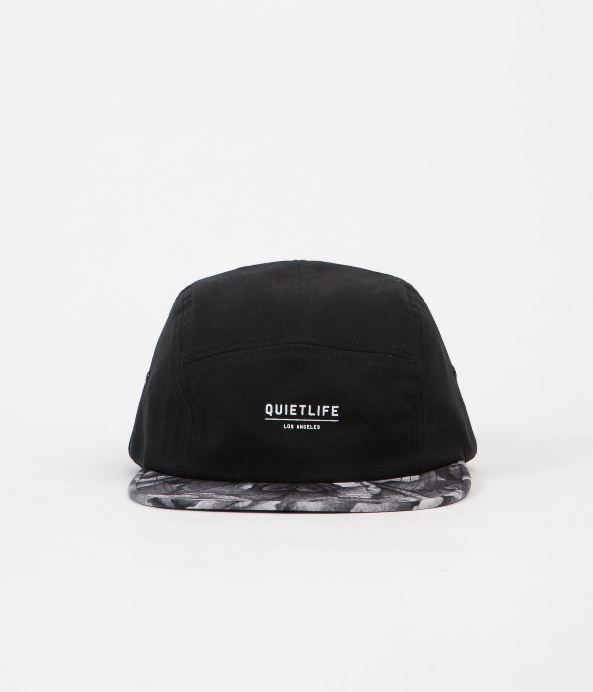 The Quiet Life Rose 5 Panel Camper Cap - Black / Rose