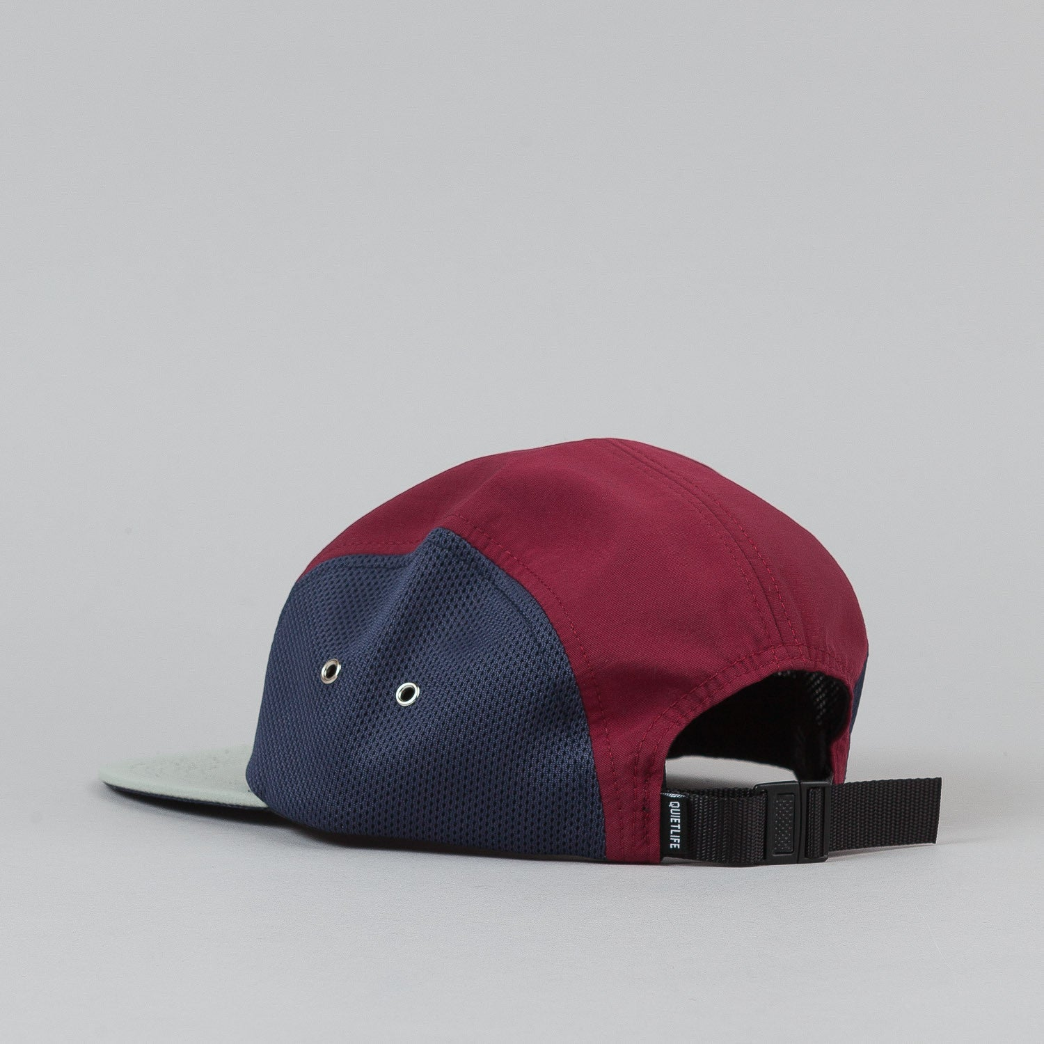 The Quiet Life Runner 5 Panel Cap - Stone Bill / Burgundy Upper