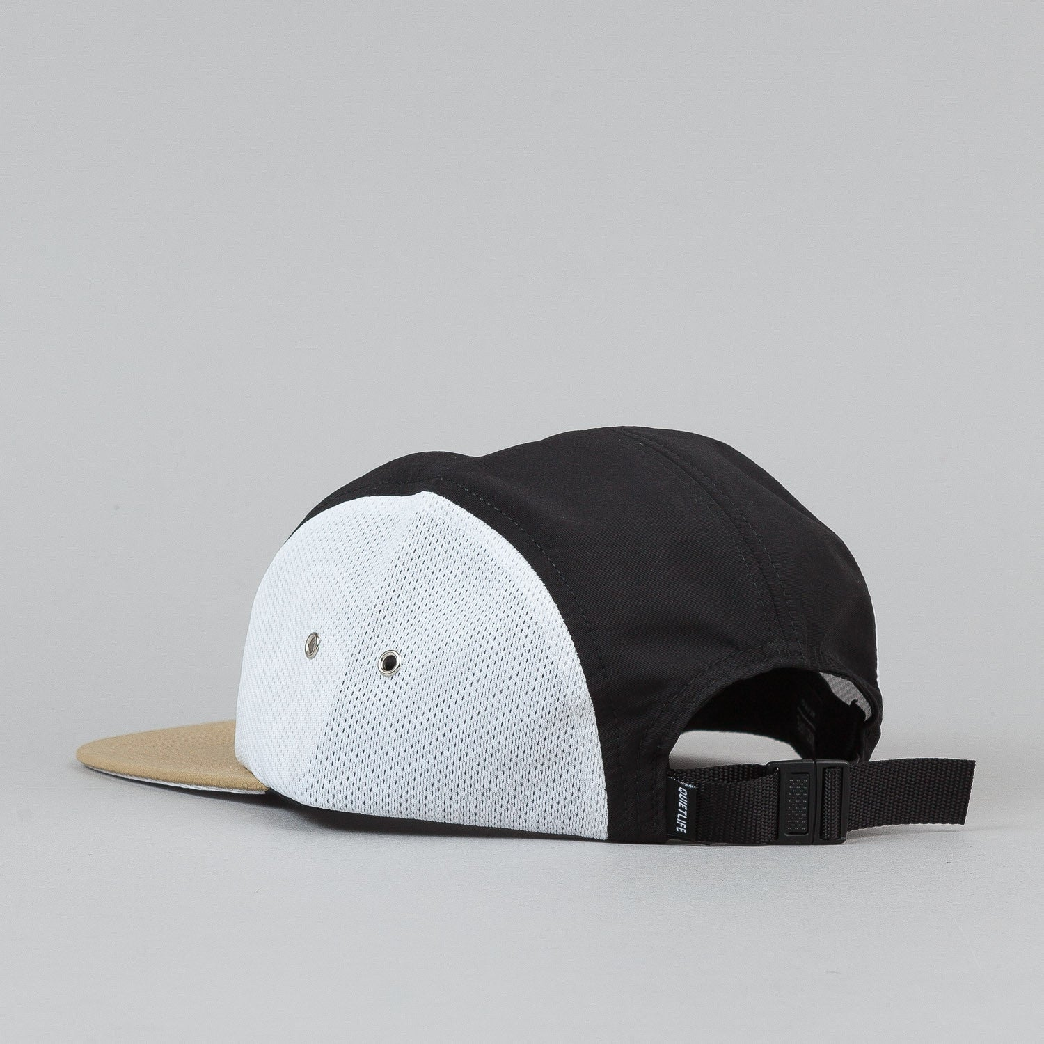 The Quiet Life Runner 5 Panel Cap - Tan Bill / Black Upper