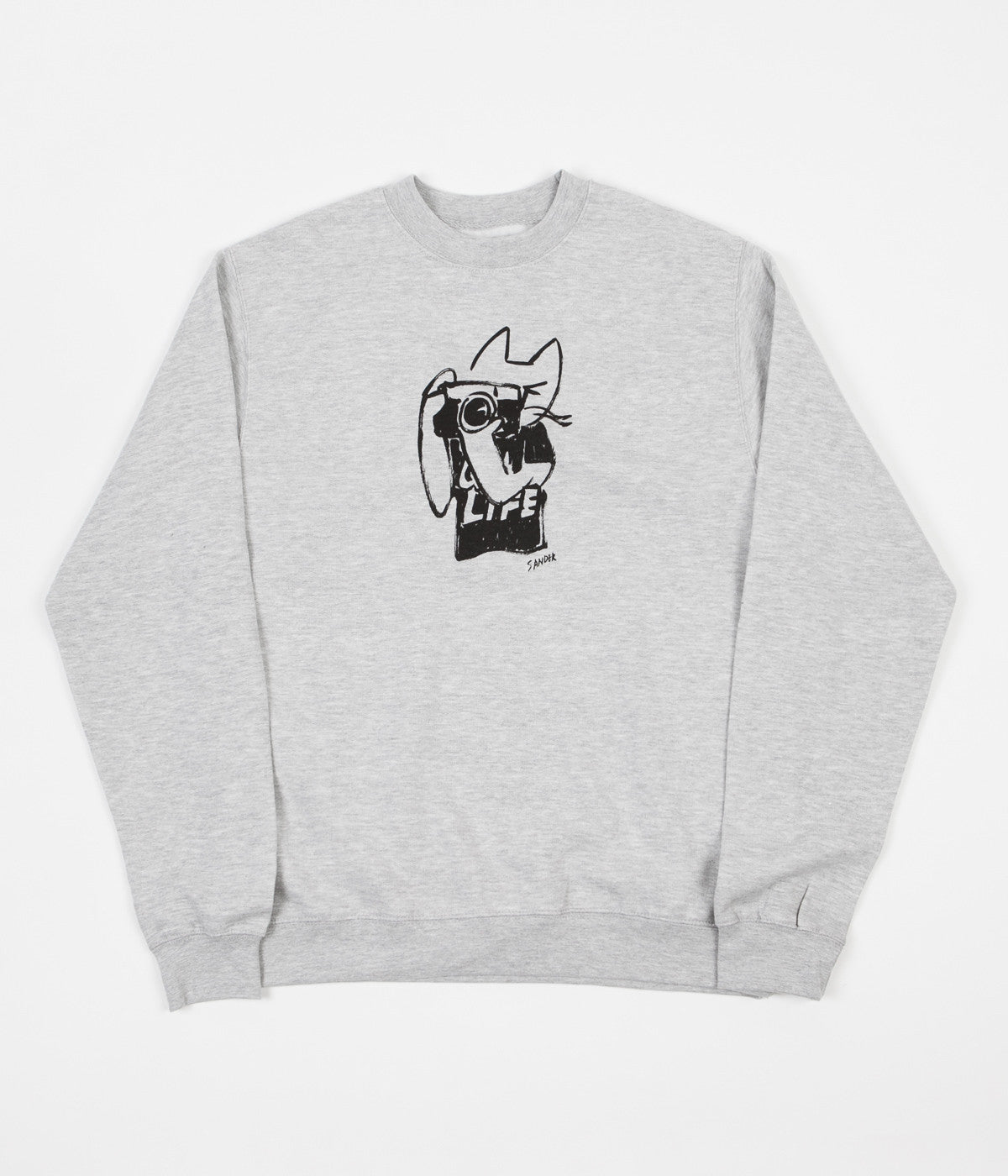 The Quiet Life Sanders Camera Cat Crewneck Sweatshirt - Heather Grey