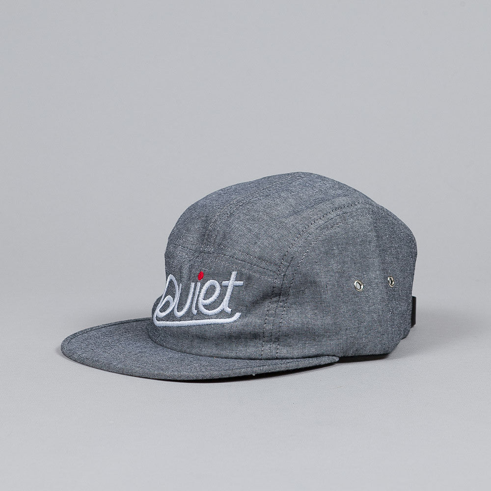 The Quiet Life Script Chambray 5 Panel Cap Black