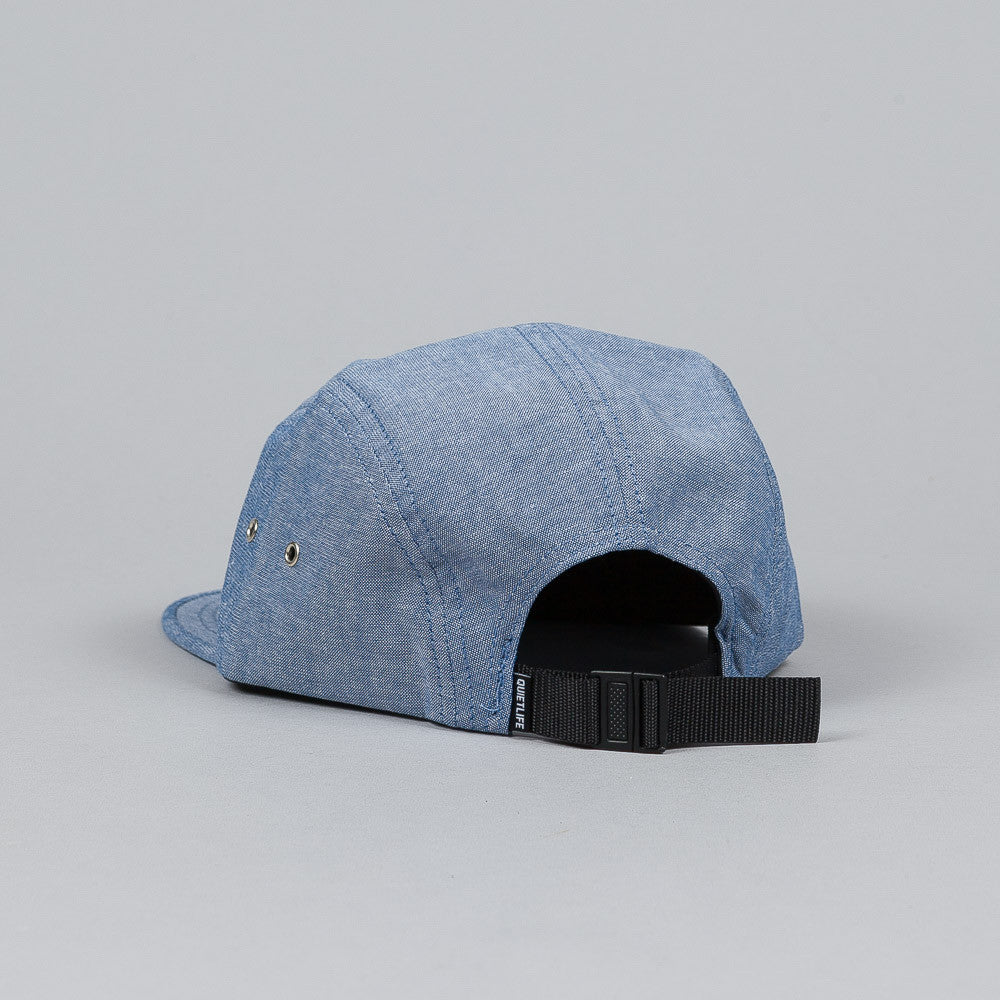 The Quiet Life Script Chambray 5 Panel Cap Blue