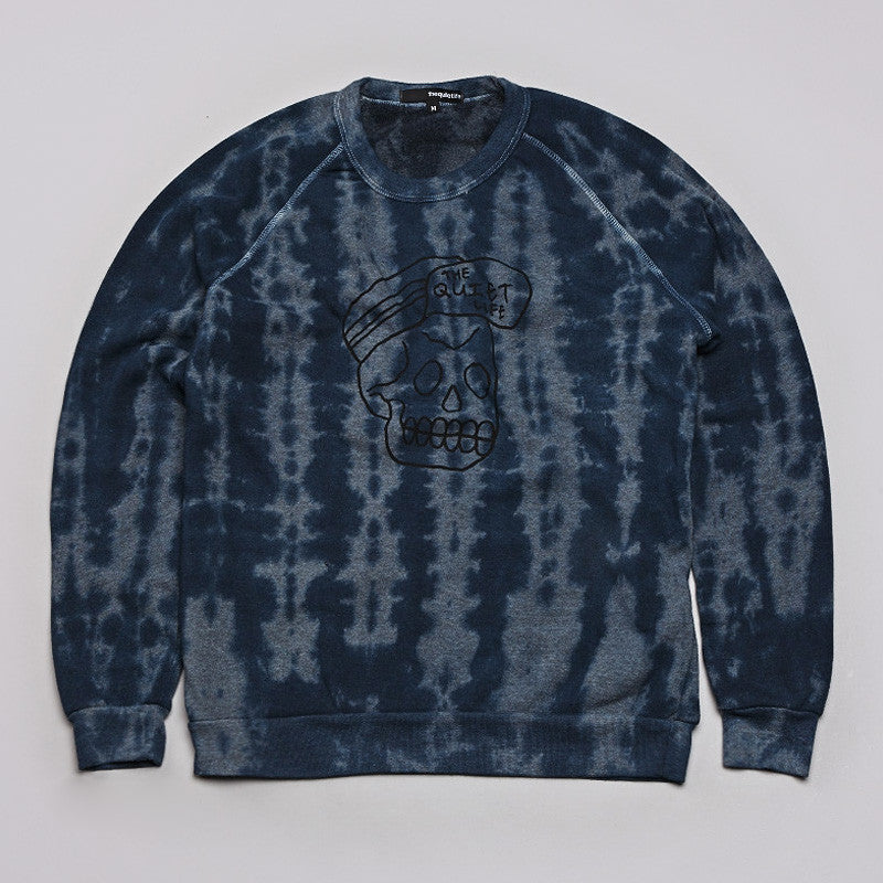 The Quiet Life Skull Cap Sweatshirt Tie Dye Blue / Heather Grey