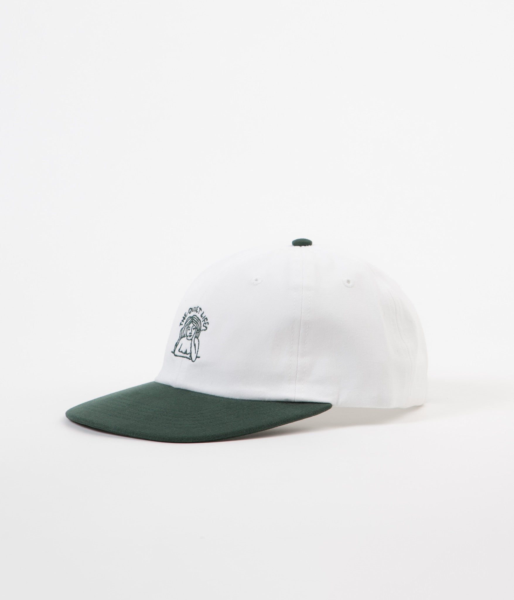 The Quiet Life Smoking Girl Polo Cap - White / Forest