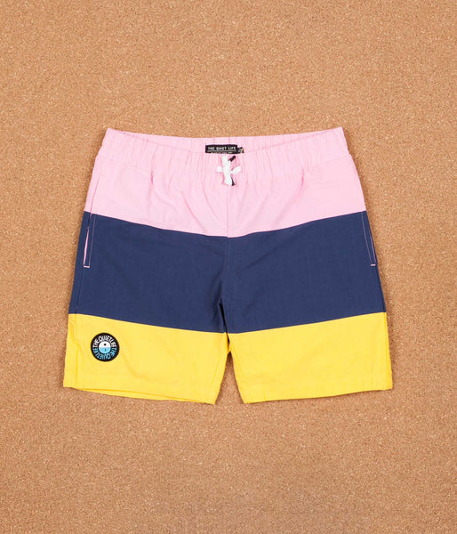 The Quiet Life Solar Beach Shorts - Pink / Navy / Yellow