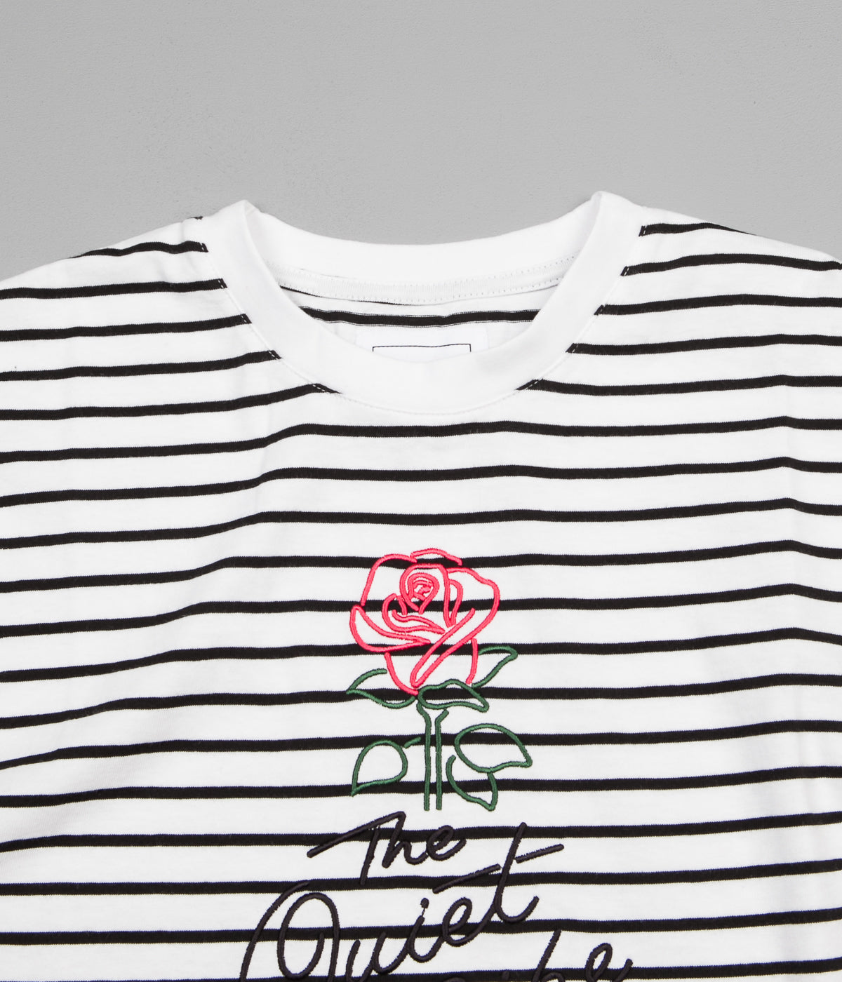 The Quiet Life Striped Rose T-Shirt - White / Black