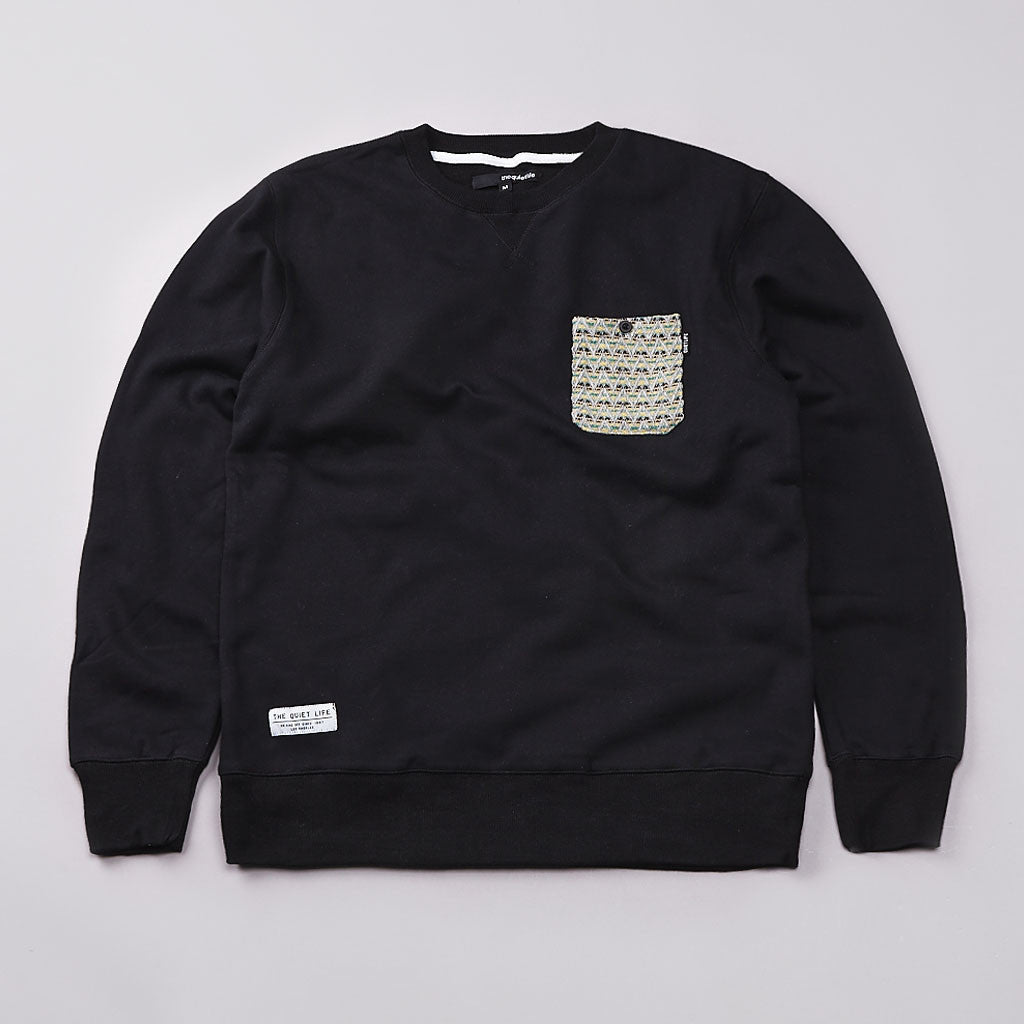 The Quiet Life Zig Zag Pocket Professor Sweatshirt Black