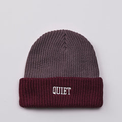 The Quiet Life QL Ribbed Beanie Maroon / Charcoal
