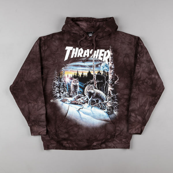Thrasher 13 Wolves Hooded Sweatshirt - Black Tie Dye