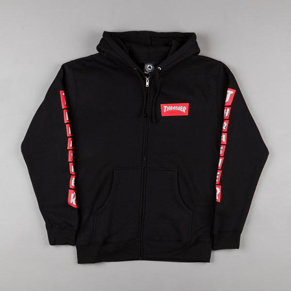 Thrasher Boxed Logo Zip Up Hooded Sweatshirt - Black