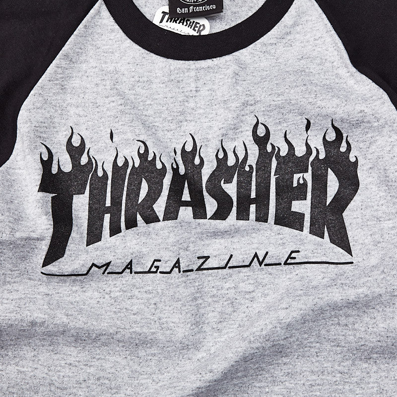 Thrasher Flame Raglan T Shirt Grey / Black