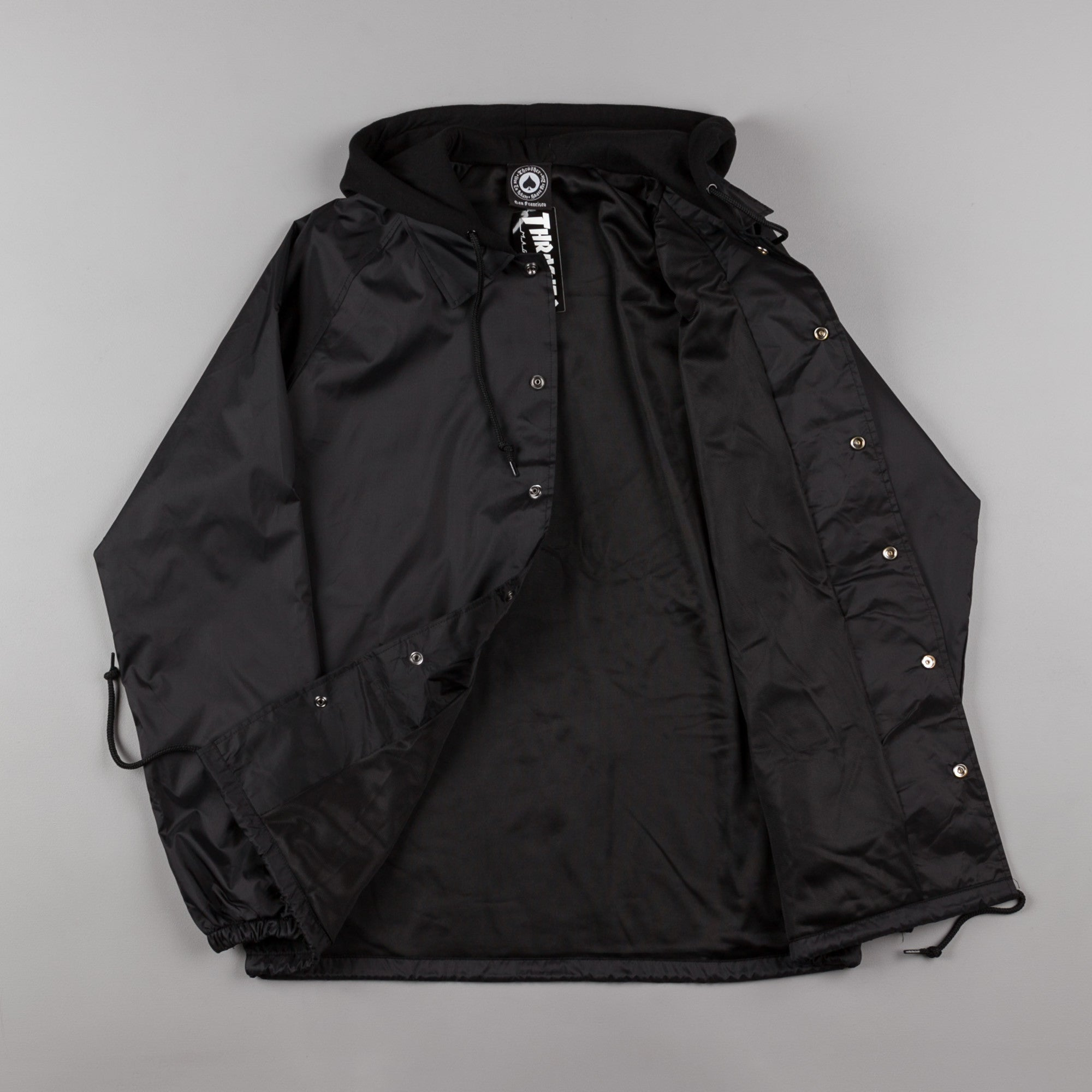 Thrasher Flame Logo Coach Jacket - Black