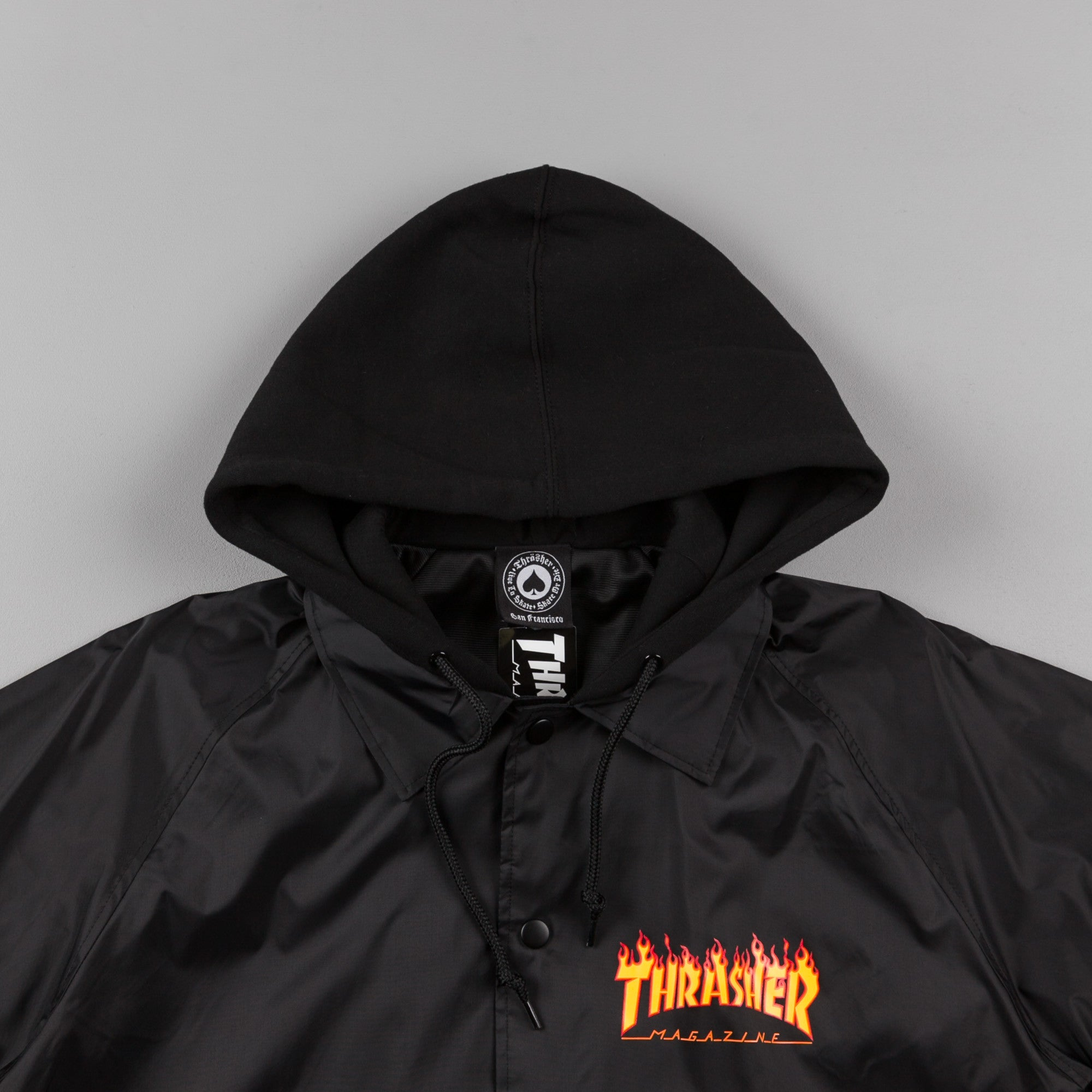 b34cec7cddfb Thrasher Flame Logo Coach Jacket - Black ...