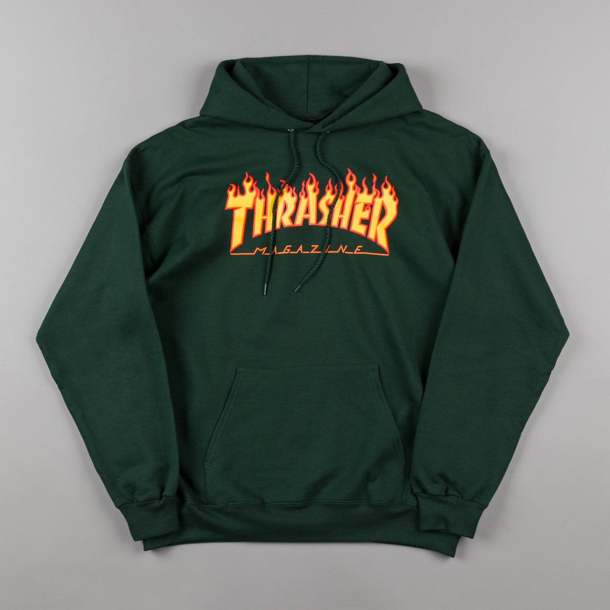 Thrasher Flame Logo Hooded Sweatshirt - Forest Green