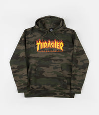 Thrasher Flame Logo Hoodie - Forest Camo