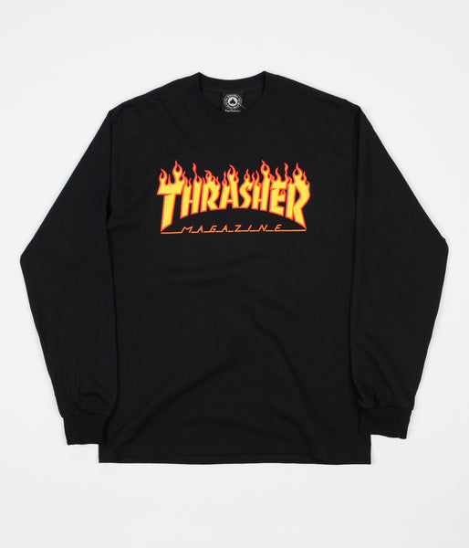 Thrasher Flame Logo Long Sleeve T-Shirt - Black