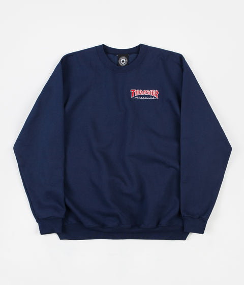 Thrasher Outlined Crewneck Sweatshirt - Navy