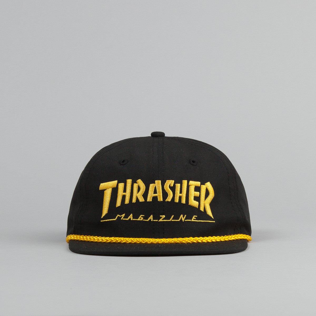 Thrasher Rope Snapback Cap - Black / Yellow