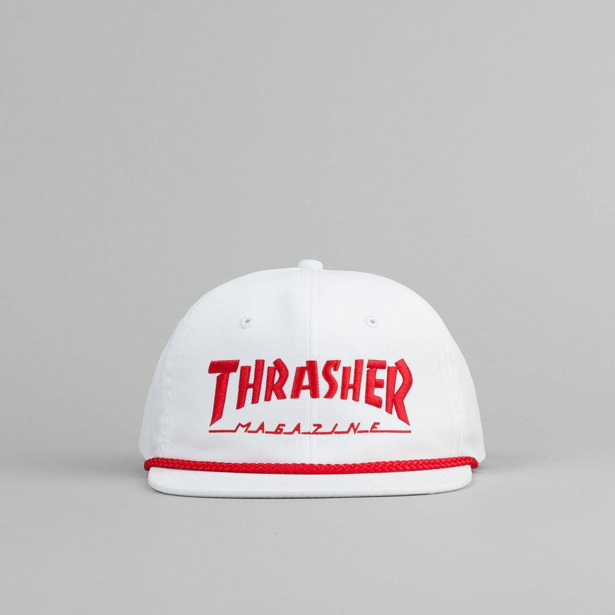 Thrasher Rope Snapback Cap - White / Red