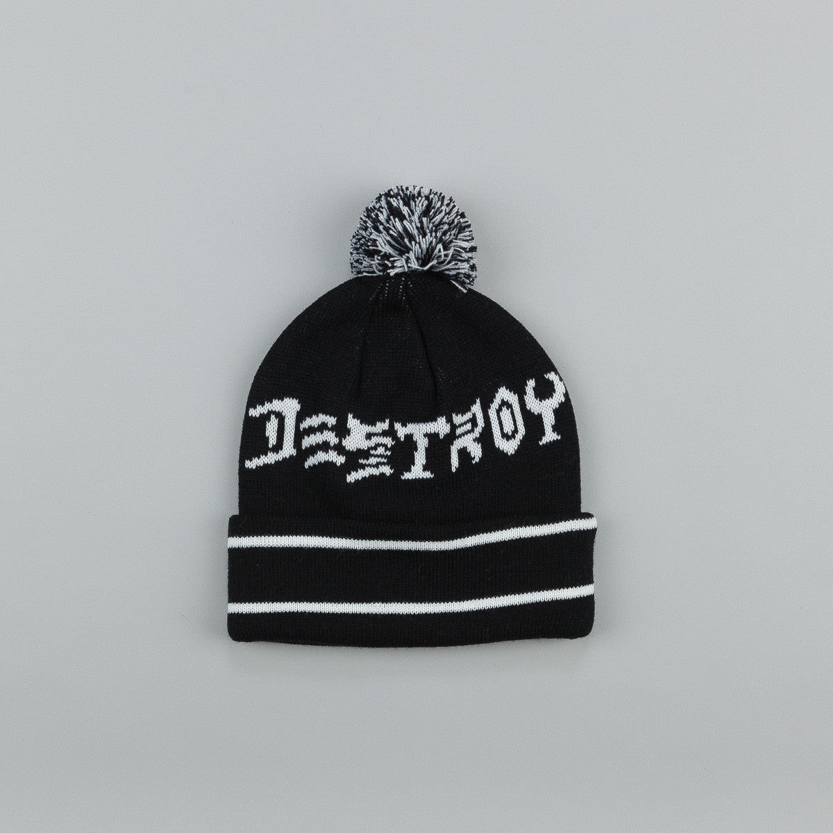 Thrasher Skate And Destroy Pom Pom Beanie Black / White