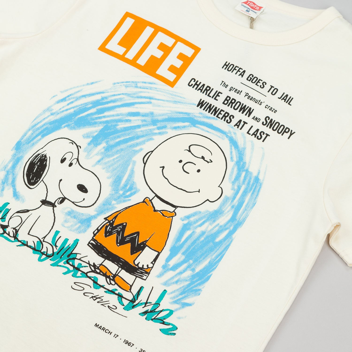 TSPTR X Life Mag Peanuts Snoopy & Charlie T-Shirt - Antique White