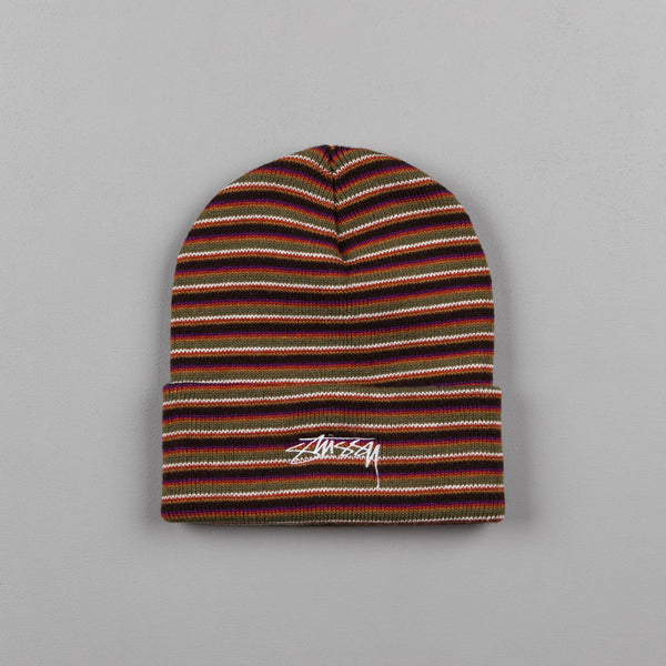 Stussy Stock Striped Cuff Beanie - Olive