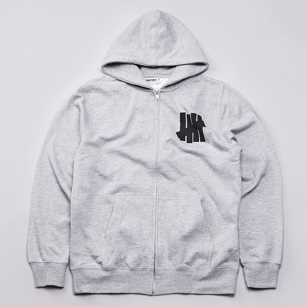 Undefeated 5 Strike Basic Zipped Hooded Sweatshirt Grey Heather