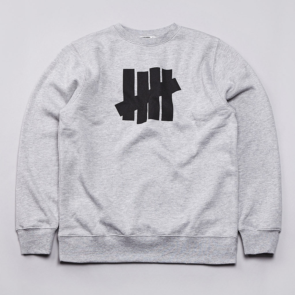 Undefeated 5 Strike Basic Pullover Crew Grey Heather