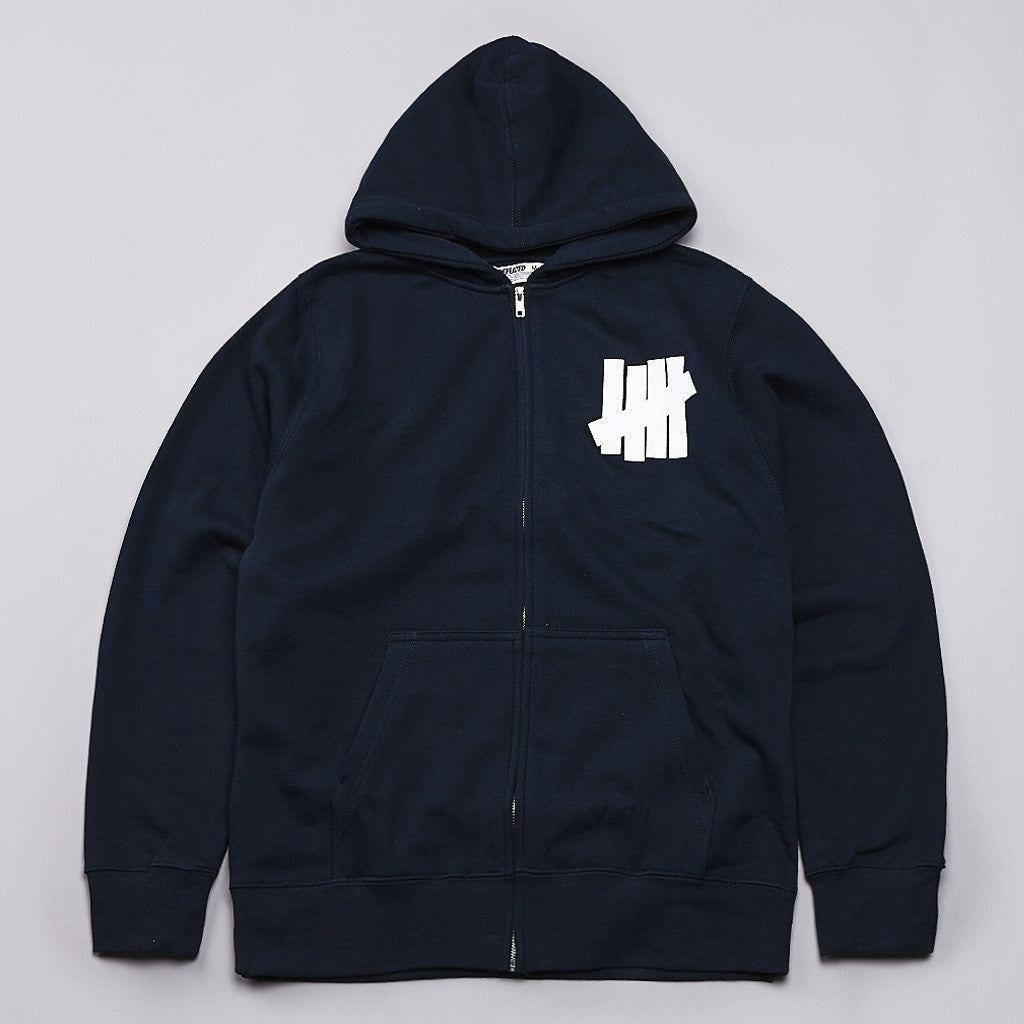 Undefeated 5 Strike Basic Pullover Zip Hoody Navy