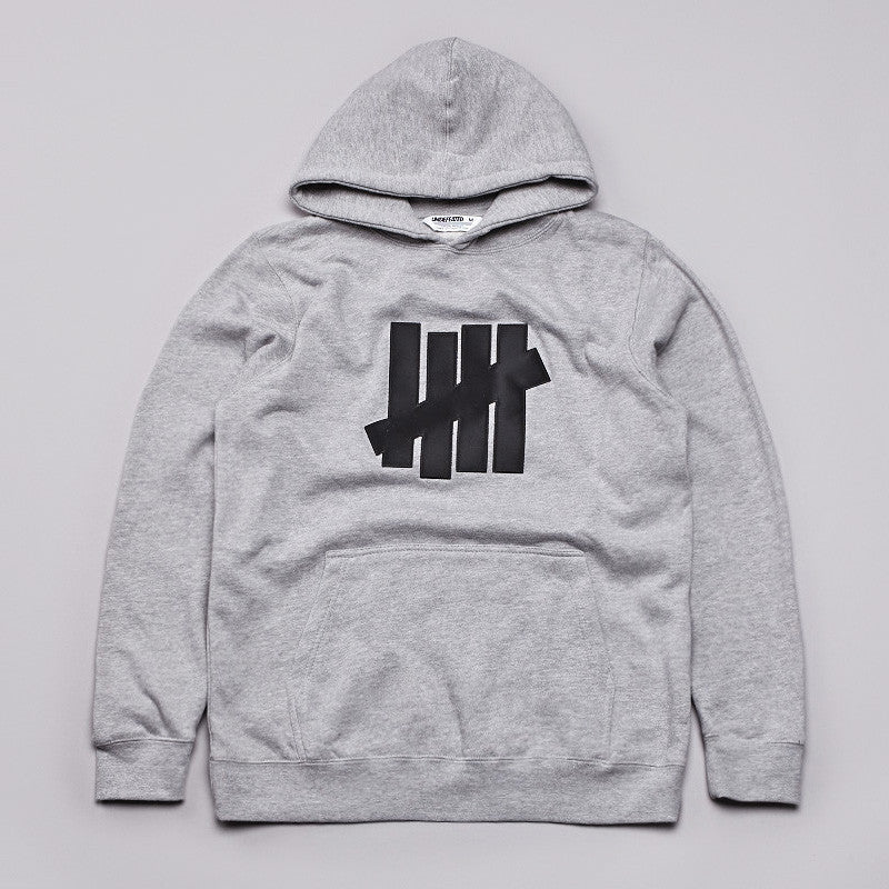 Undefeated 5 Strike Basic Pullover Hoody Grey Heather