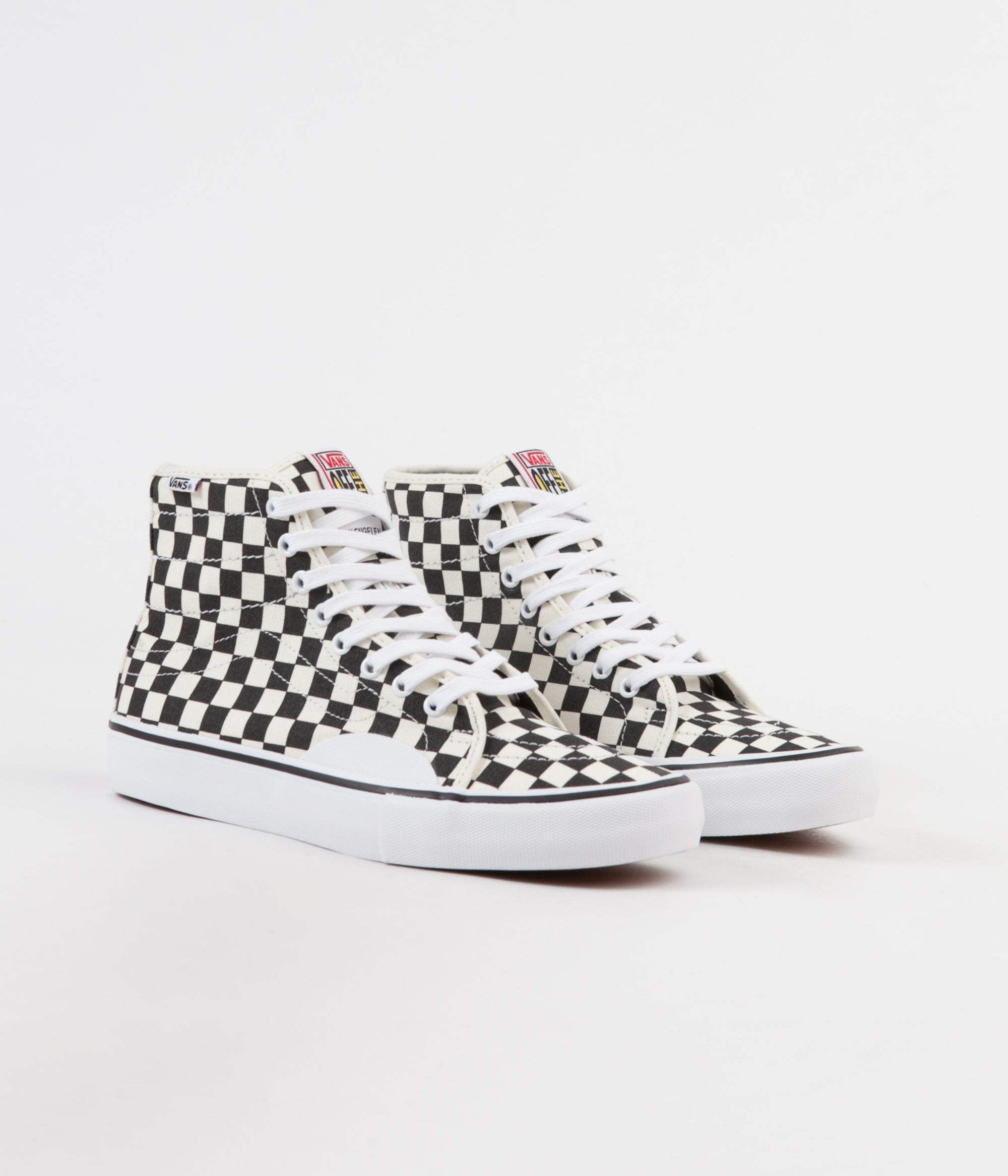 2e9d0ca909 ... Vans AV Classic High Checkerboard Shoes - Black   White ...