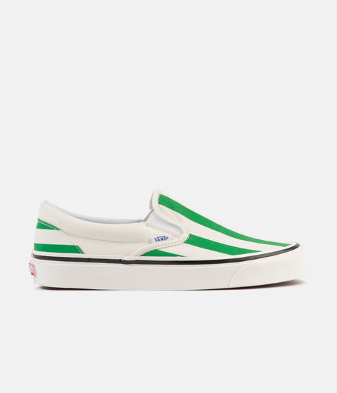 Vans Classic Slip-On 98 DX Anaheim Factory Shoes - OG White / OG Emerald / Big Stripes