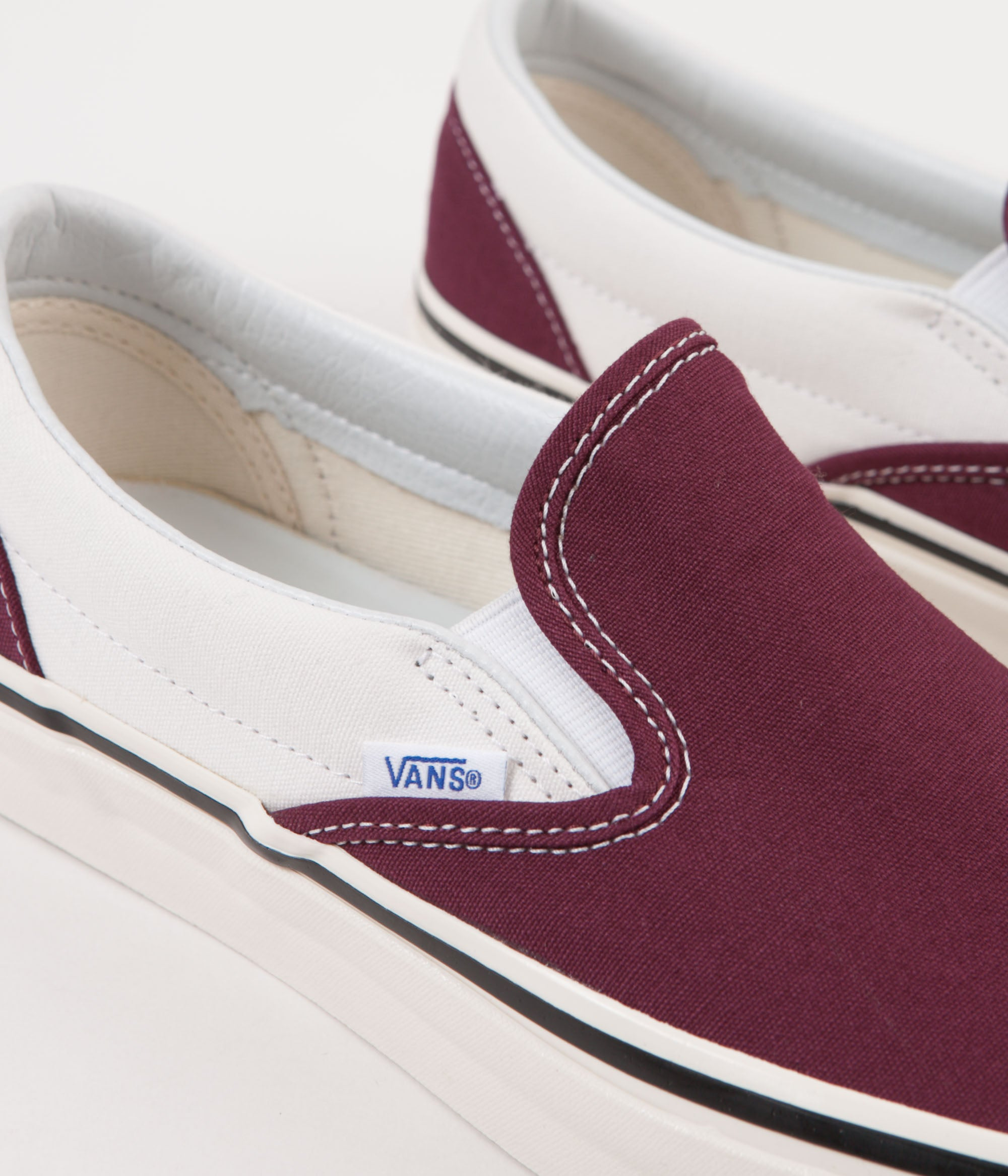 d72d9ea6bb0 ... Vans Classic Slip-On 98 DX Anaheim Factory Shoes - OG Burgundy   White  ...
