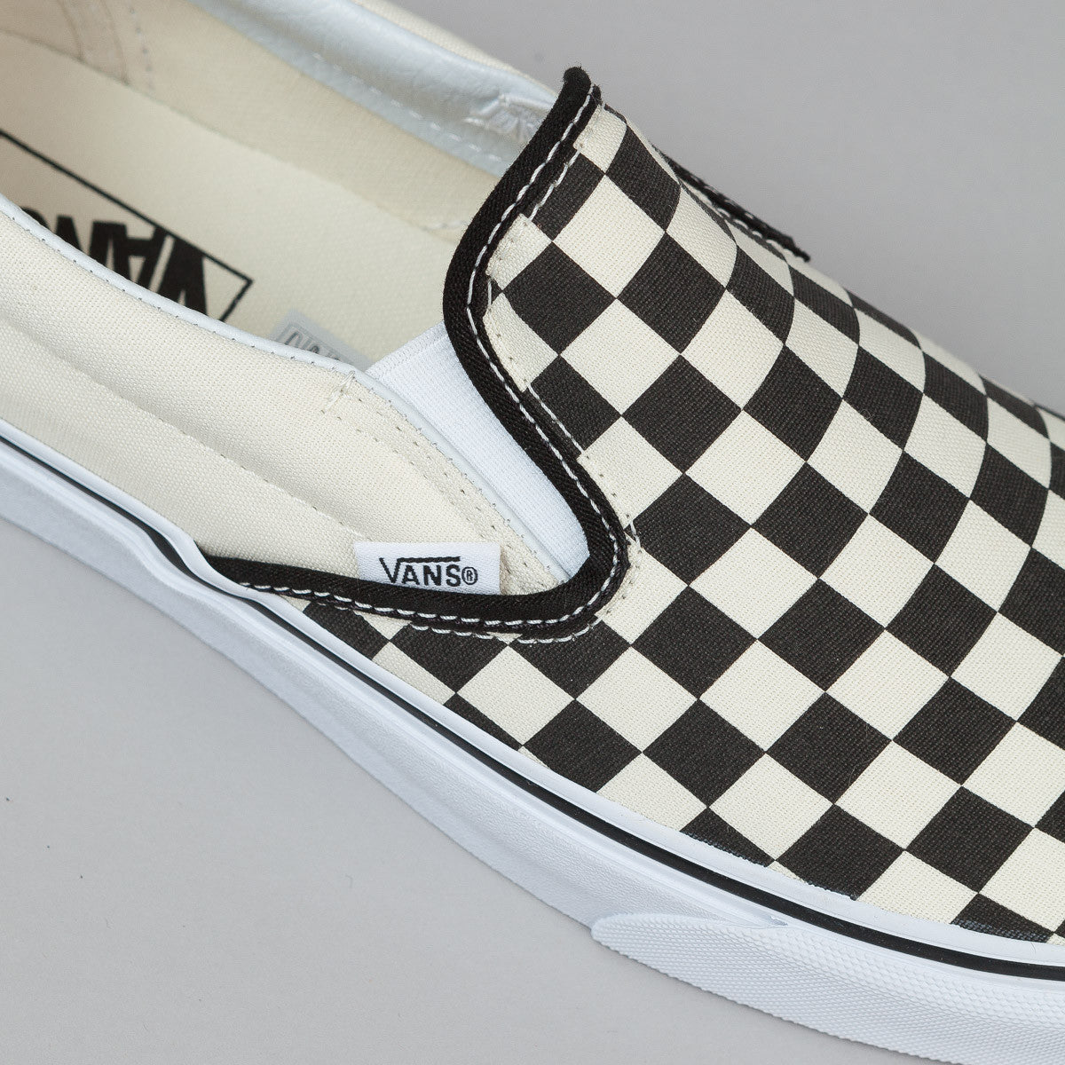 Vans Classic Slip-On Shoes - Black & White Checkerboard / White