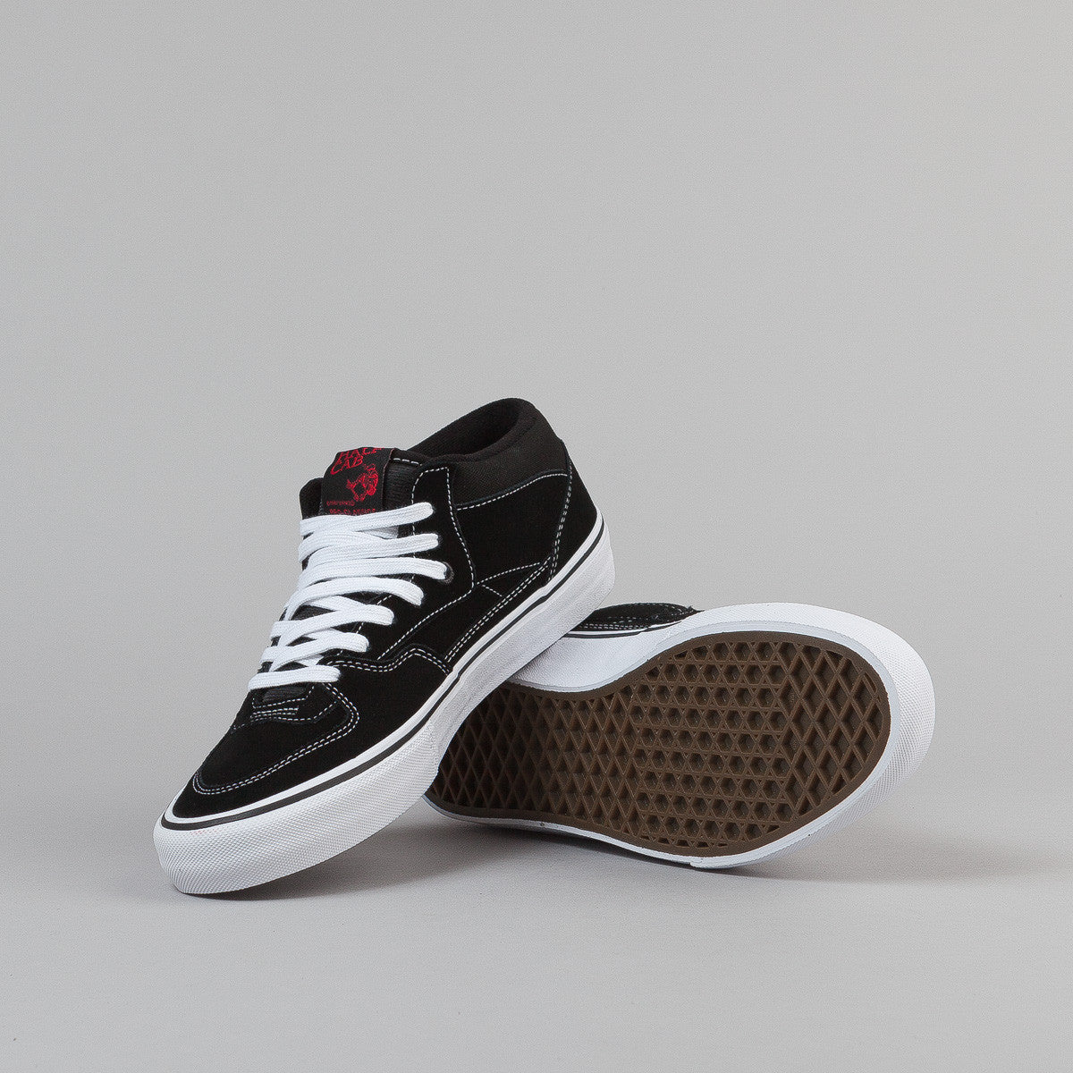 Vans Half Cab Pro Shoes - Black / White / Red