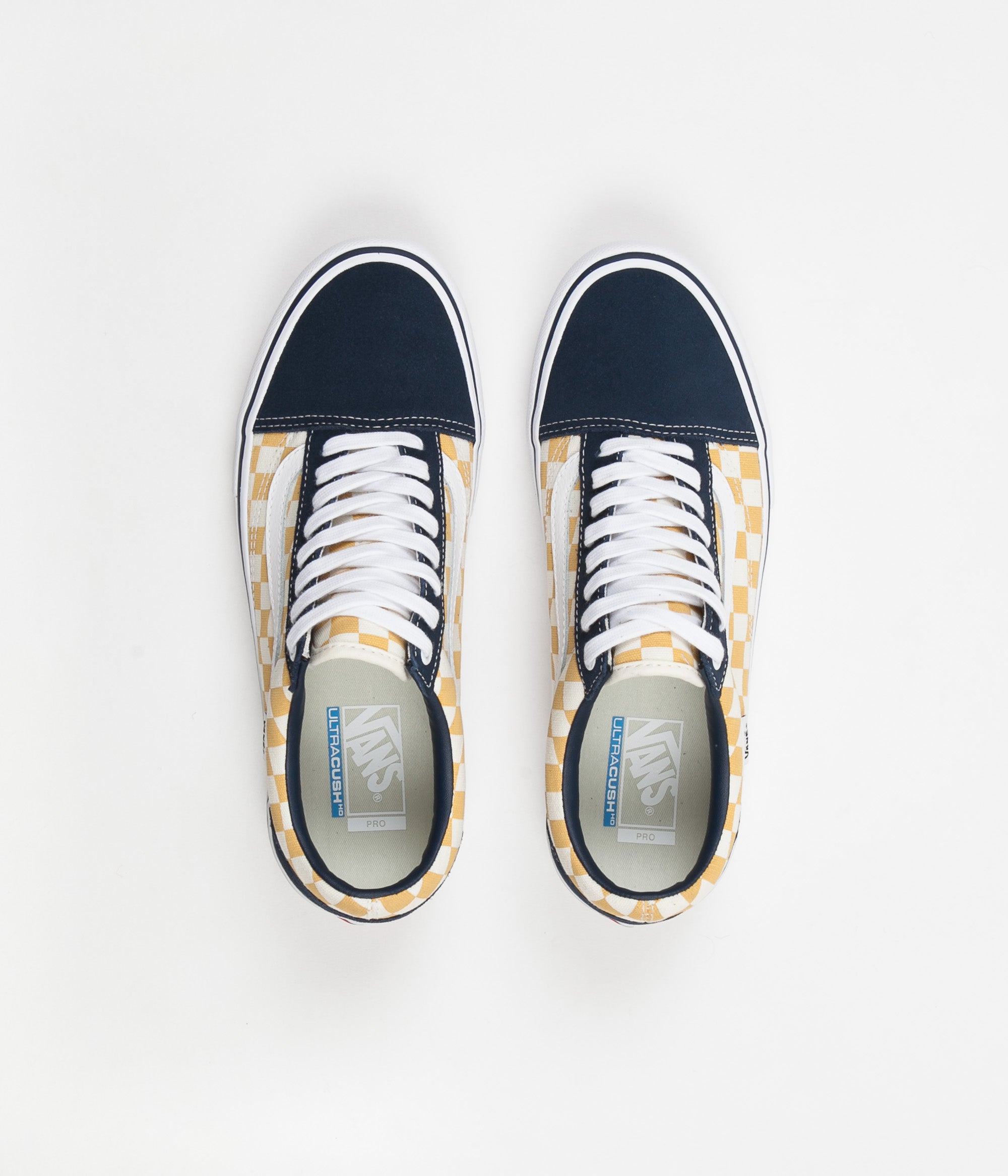 d80705e6267bac Vans Old Skool Pro Checkerboard Shoes - Dress Blues   Ochre ...