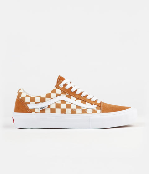 Vans Old Skool Pro Shoes - (Checkerboard) Golden Oak