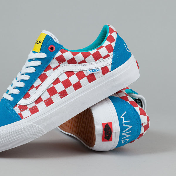 Vans Old Skool Pro Shoes Golf Wang Blue Red White