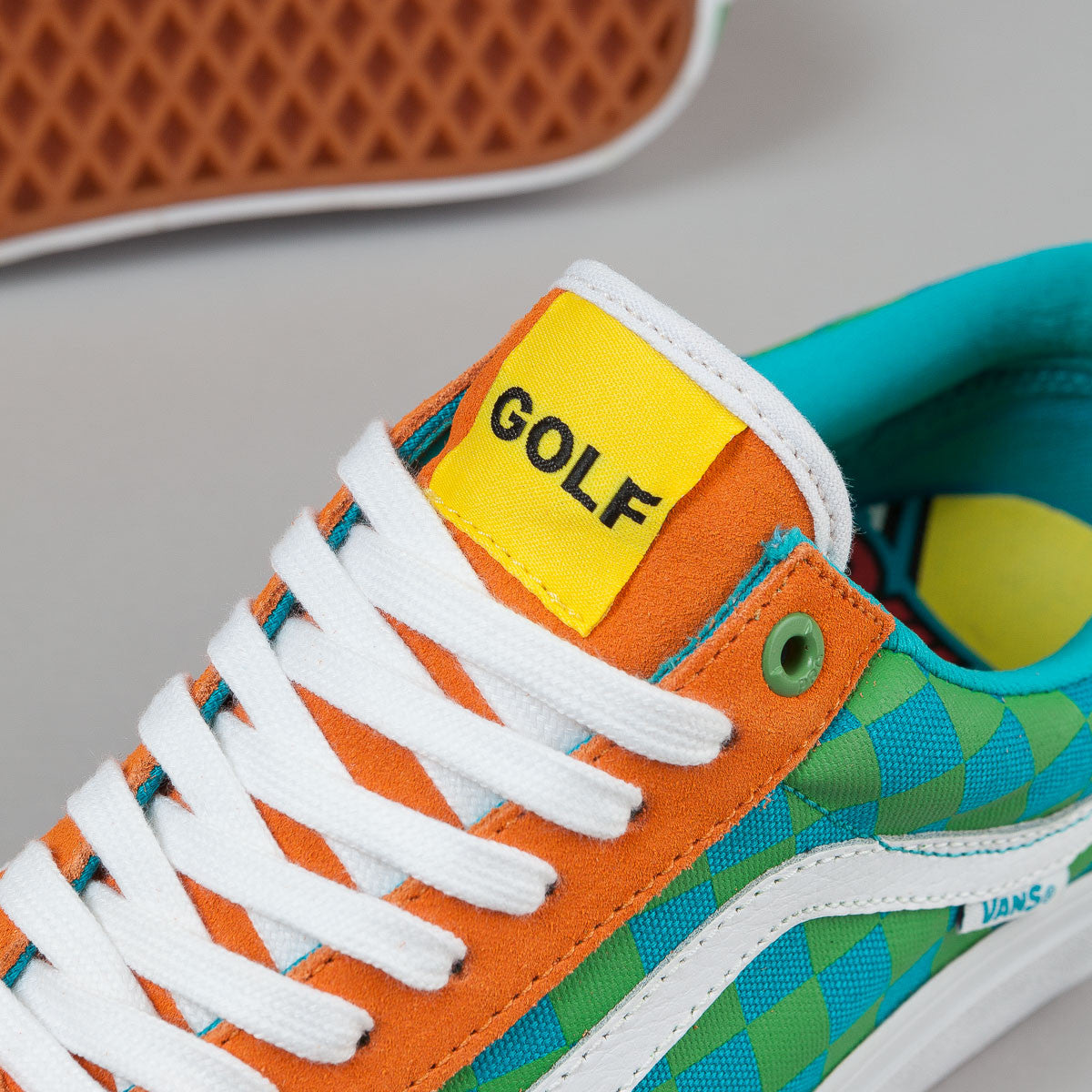 Vans Old Skool Pro Shoes (Golf Wang) - Orange / Blue / Green