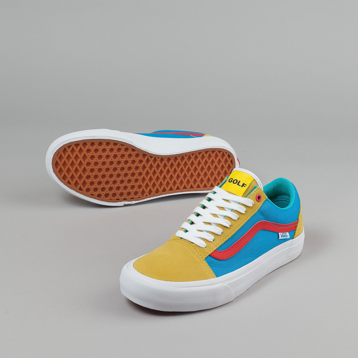 Vans Old Skool Pro Shoes (Golf Wang) - Yellow / Blue / Red