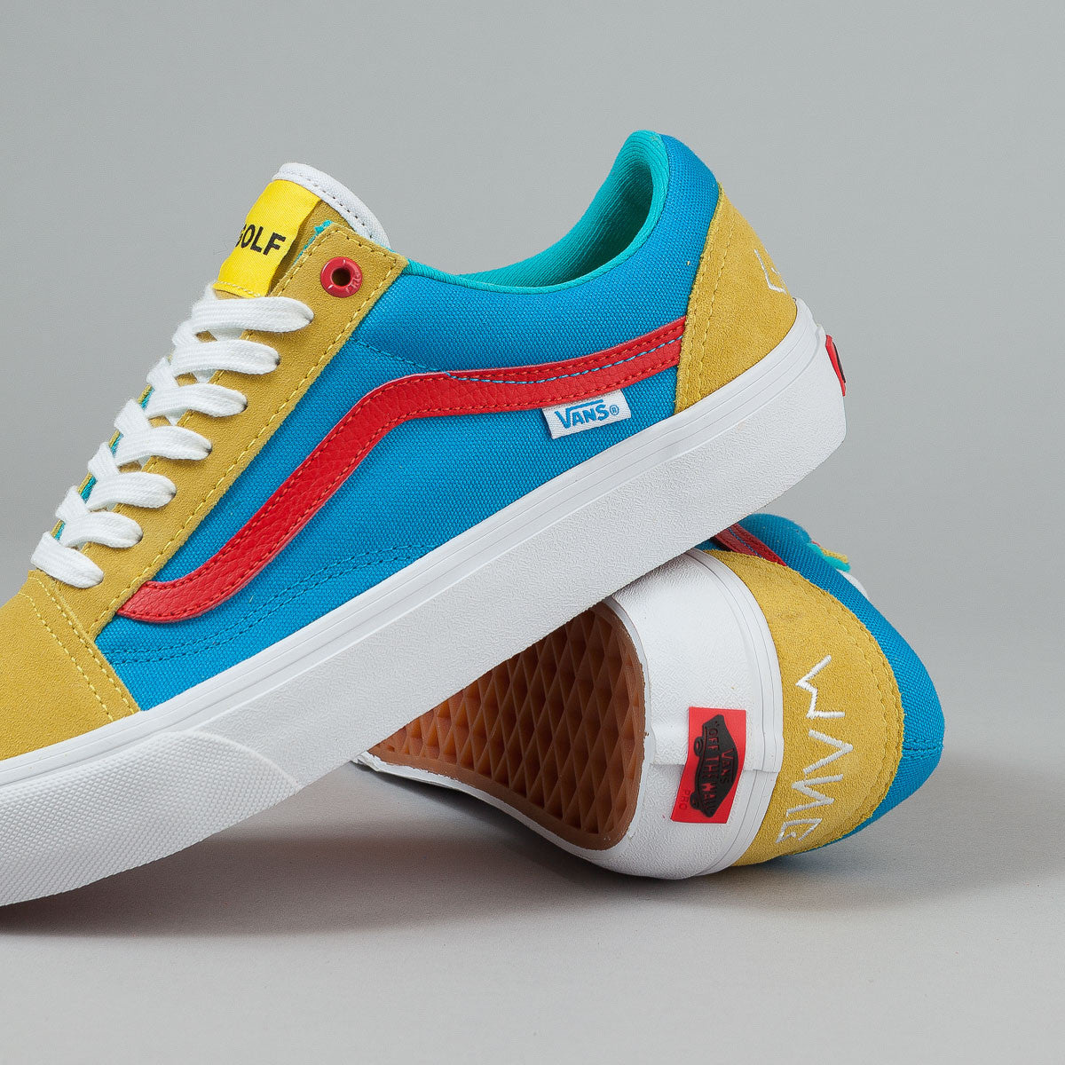 vans old skool pro shoes golf wang yellow blue red